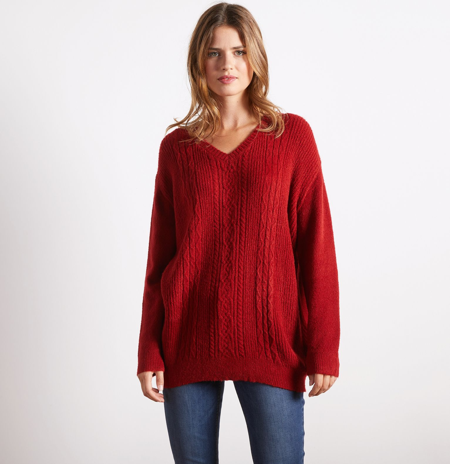 Pull loose femme maille irlandaise