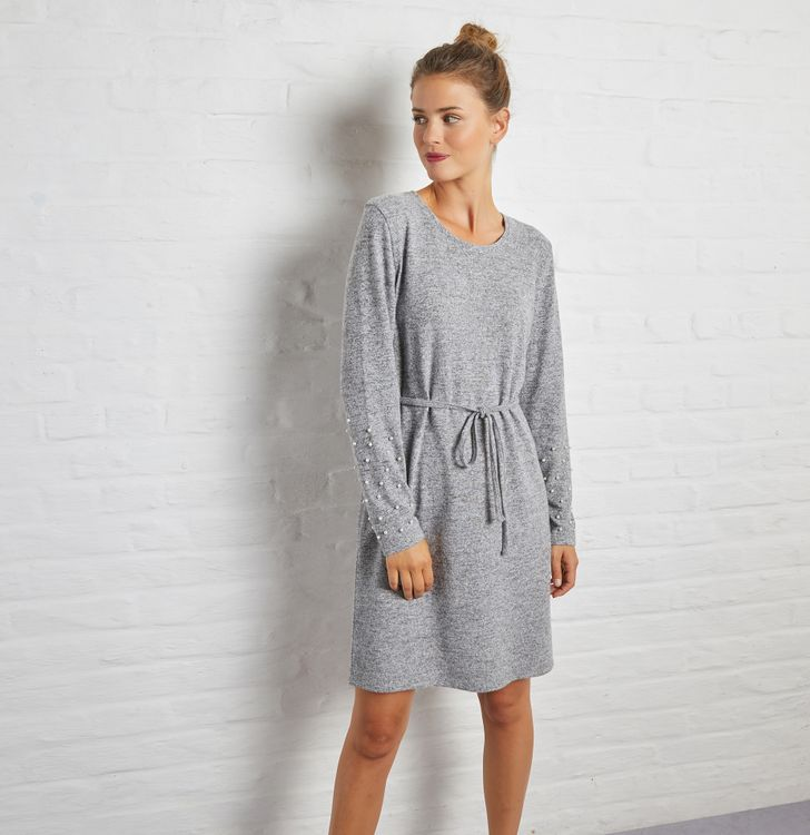 Robe-pull avec manches perlées femme