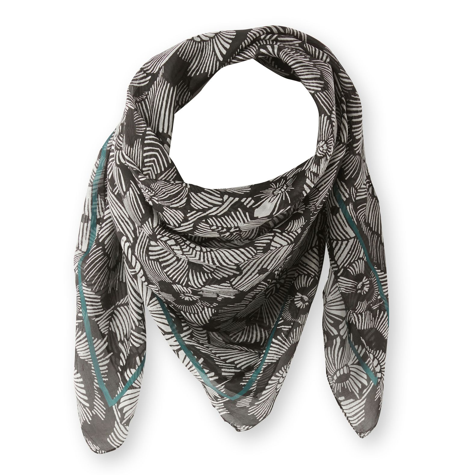 Foulard soie femme graphique et fleuri