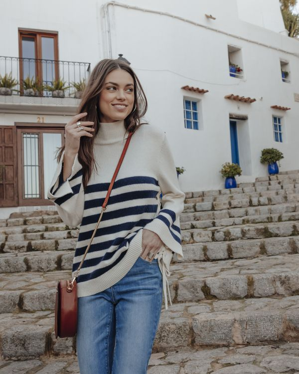 Pull femme style marinière
