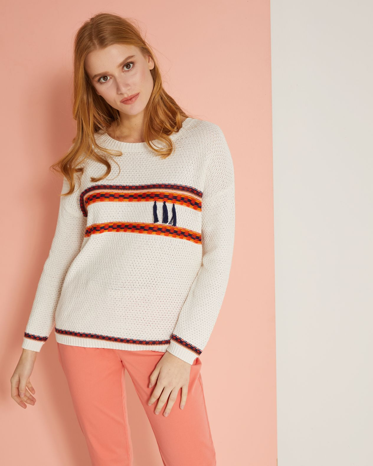 Pull femme pur coton fantaisie pampilles
