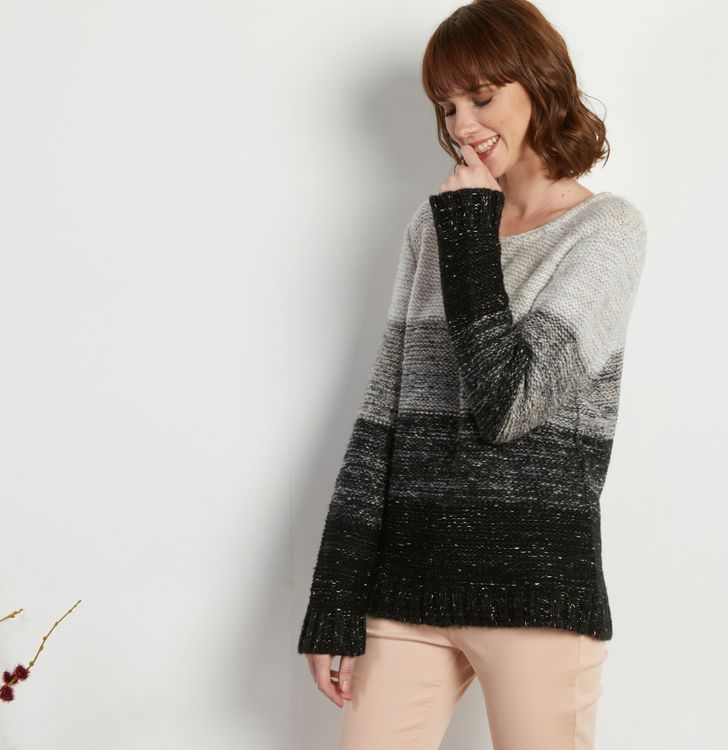 Pull femme larges rayures maille chinée