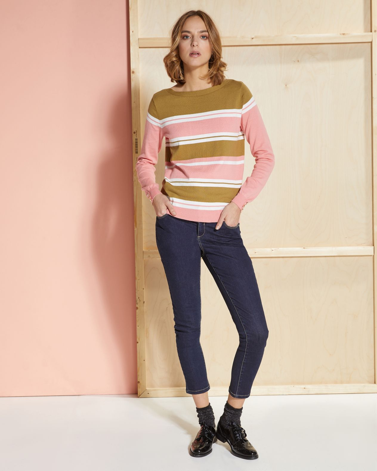 Pull femme larges rayures pur coton