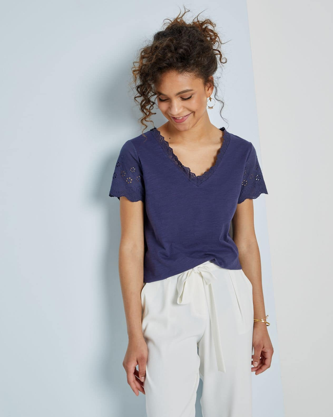 T-shirt femme coton broderies anglaises