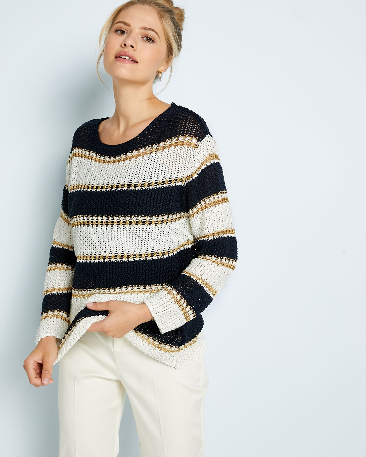Pull femme larges rayures bandes irisées