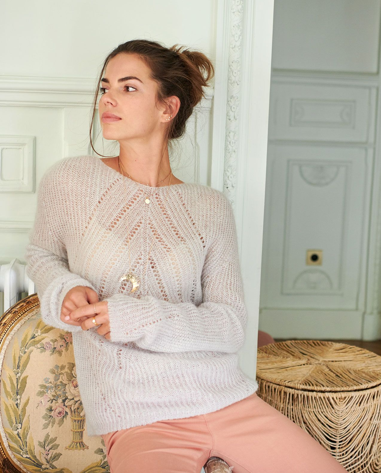 Pull femme maille fine ajourée mohair