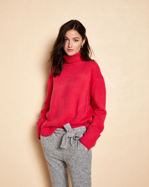 Pull femme ample grosse maille col roulé