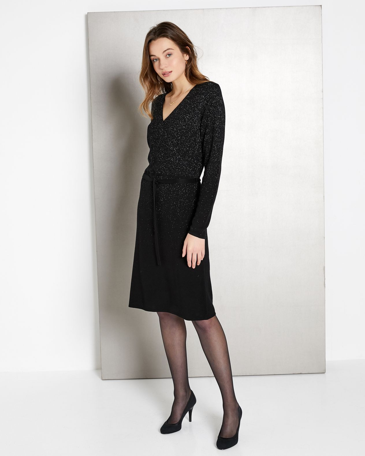 Robe-pull femme maille irisée