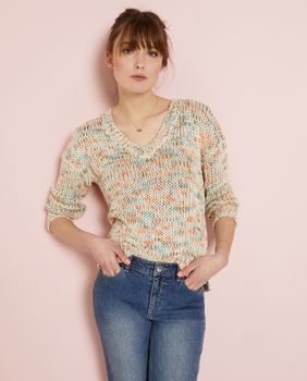 Pull femme grosse maille multicolore