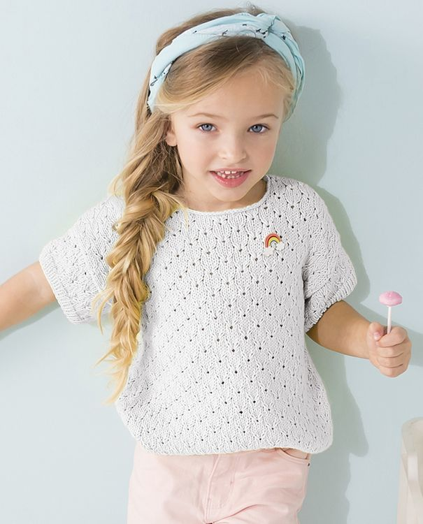 Modèle Pull fille Phil Tropical Blanc