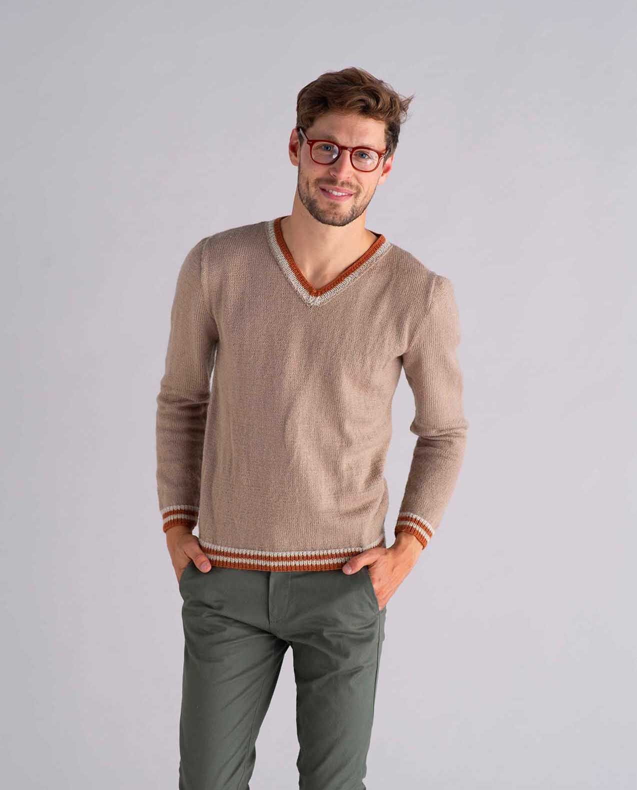Modèle Pull Col V Homme Phil Lambswool
