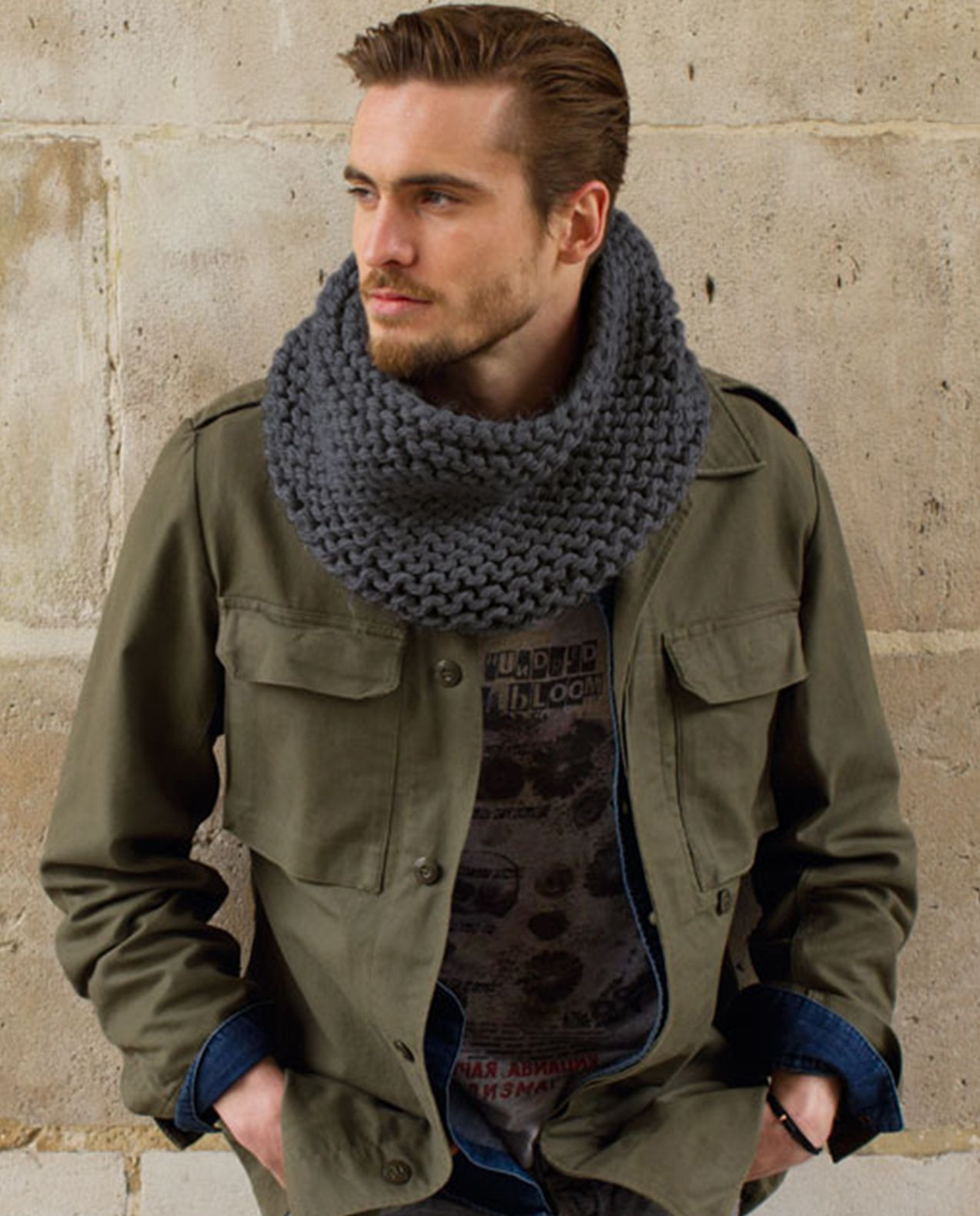 Modèle snood mixte point mousse