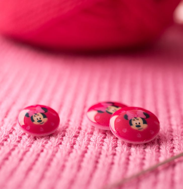 Bouton Disney rose - Minnie - 13 mm